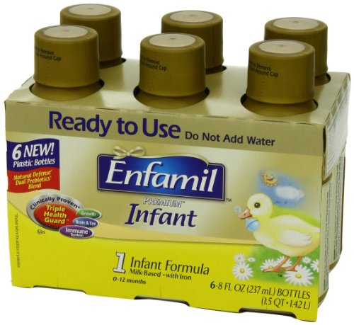 Enfamil  Infant Baby Formula - Ready-to-Use 8 fl oz Plastic Bottles, 6 Count (Pack of 4)