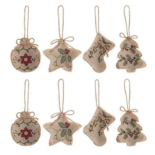 Christmas Tree Ornaments Stocking Decorations - 8pcs Christmas Stocking Tree Ball Star Holiday Party Decor]()
