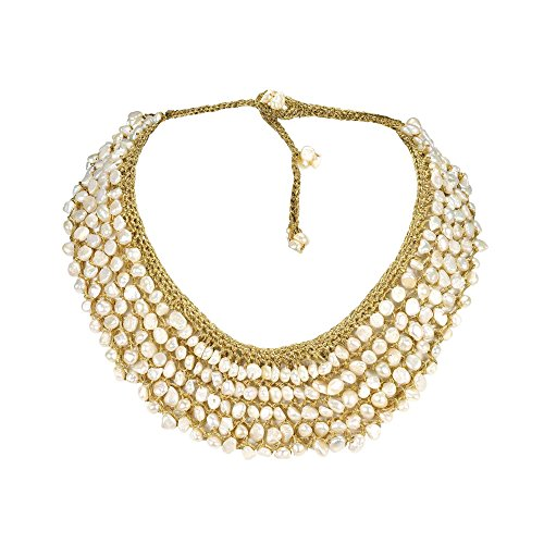 Silk Handmade Bib - AeraVida Cultured Freshwater Pearls Collar Bib Silk Net Necklace