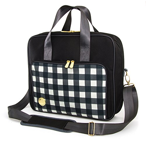 American Crafts 662841 We R Memory Keepers Shoulder Bags, Plaid Black (Paper Tote Scrapbook)