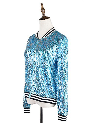 Cuffs Long Kaci Jacket Sequin Sleeve with Ribbed Blue Front Anna Zip Womens qOvnvUt