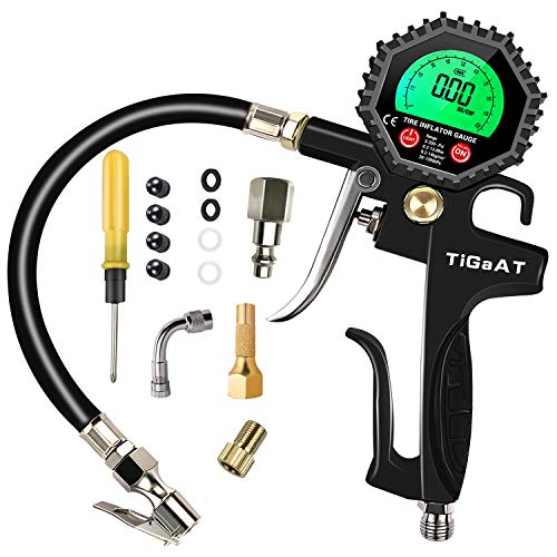 TiGaAT Digital Tire Inflator Pressure Gauge,200 PSI Tire Inflator Air Chuck Compressor Accessories with 360° Rubber Hose for Car Bike Rv Truck Automobile and Motorcycle (Green)