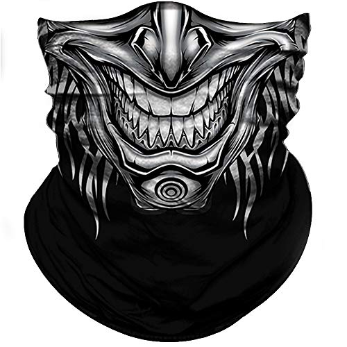(Obacle Skull Face Mask Half Sun Dust Wind Protection, 3D Tube Mask Seamless Durable Face Mask Bandana Skeleton Face Mask Motorcycle Bike Riding Fishing Hunting Cycling Festival Gifts, Many)
