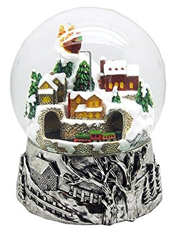 20057 Snow Globe Christmas Village 6 inch diameter silver Base, rotation & Music Box
