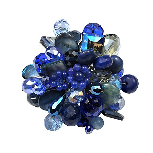 - AeraVida Midnight Blue Blossoming Lotus Simulated Blue Lapis-Lazuli Floral Pin or Brooch