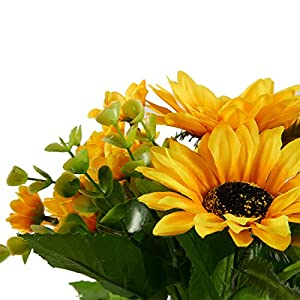 Juvale Artificial Sunflowers - 2 Bunches Sunflower Bouquet in Yellow - Fake Flowers Artificial Plant for Home Decor, Wedding, Party, Patio 5