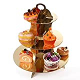 3-Tier Cupcake Stand - Collapsible and Easy to Assemble - Accommodates Several Types of Desserts - Perfect for Catering and Birthday Parties (Gold)
