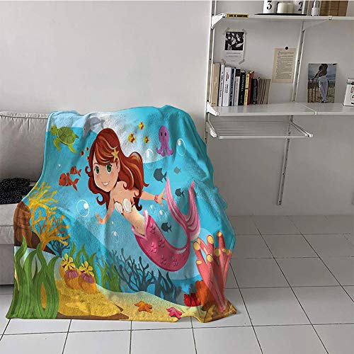 Price comparison product image Khaki home Children's Blanket Throw / Travel Oversized Travel Throw Cover Blanket (50 by 70 Inch, Mermaid Decor, Mermaid Swimming Underwater in The Ocean Smiles Cheerful Happiness