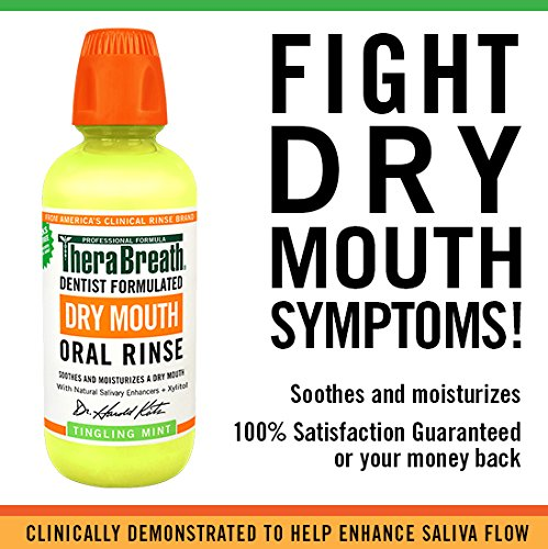 TheraBreath – Dry Mouth Oral Rinse – Dentist Formulated – Natural Salivary Enhancer – Tingling Mint Flavor – Natural Mouth Moisturizer – 16 Ounces – Two-Pack by TheraBreath (Image #2)