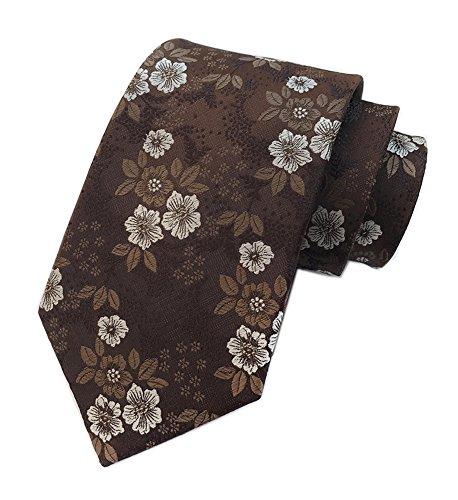 Motif Silk Mens Tie - Secdtie Men Boys Coffee White Suit Tie Woven Silk Paisley Necktie Gift for him