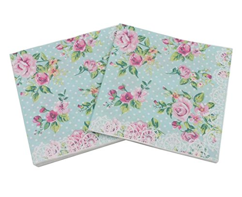 Flowers Luncheon Napkins - 40 Count Paper Napkins, Designed Romantic Flowers Prints Cocktail Napkins, Serviettes Napkins for Weeding, Dinner and Party, Paper Luncheon Napkins 2-Ply, 13x13 Inch (Romantic Collection, Flower 11)