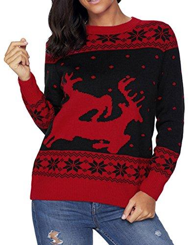 Scothen Traje de los copos de nieve de la pared del reno de Santa de las mujeres Traje de oscilación de la Navidad suéter Bambi de la manga larga de la Navidad del jersey con el suéter retro del reno Black