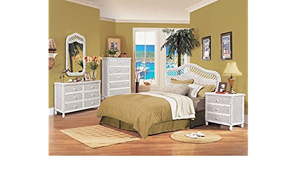 Amazon Com White Wicker 4 Piece Bedroom Set Santa Cruz Includes