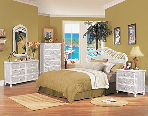 White Wicker 4 piece Bedroom Set, Santa Cruz, includes King Headboard, NS, 6 Drawer Dresser, Mirror