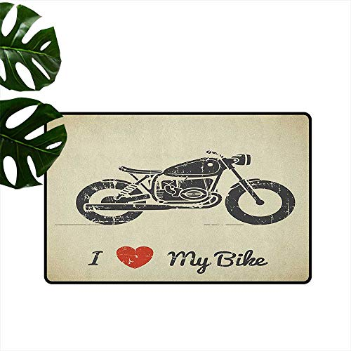 RenteriaDecor Manly,Kitchen Floor mats Vintage Grunge Flat Looking Motorcycle and I Love My Bike Text Silhouette 36
