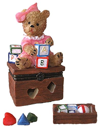 4 Inch Brown Teddy Bear - Direct Connection Co. Sweet Brown Teddy Bear Girl on Toy Box 3pc Resin Trinket Box