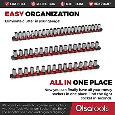Olsa Tools 3 Pc Set Aluminum Socket Organizer with Locking End Caps | 1/4-Inch Drive x 24 Clips, 3/8-Inch Drive x 18 Clips, 1/2-Inch Drive x 16 Clips | Premium Quality Socket Holder (RED): Automotive