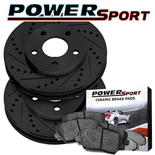 Power Sport Jeep Wrangler JK Black Rear Drilled Brake Rotors and Ceramic Pads