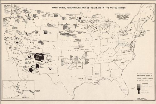 Poster 1939 Map Of Native American Indian Tribe Reservations In United States By Sam