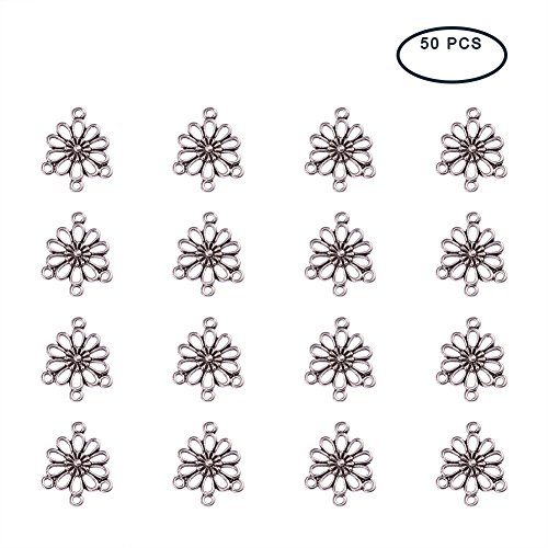 Pandahall 50pcs Alloy Flower Antique Silver Tone Connector Link Chandelier Component Findings (18mmx ()