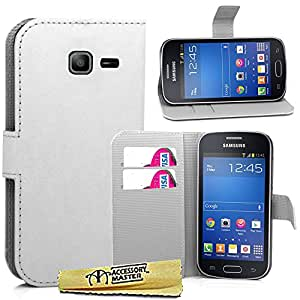 Accessory Master - Funda de piel con tapa para Samsung Galaxy Trend lite S7390, color blanco