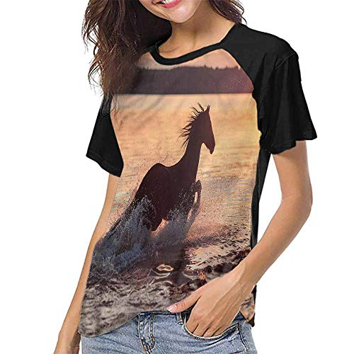Women's Short Sleeve Shirts,Equestrian,Horse Sea at Sunset S-XXL(This is for Size Medium),Tops for Lady Girls