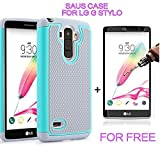 LG G Stylo Case, SAUS Hybrid Dual Layer Armor Hard Impact Shock Absorption Defender Bumper Protective Case With FREE tempered glass screen protector for LG G Stylo (Grey/Mint)