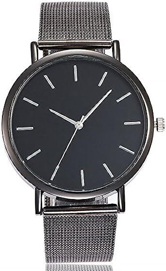 ZODOF Unisex Ultra Thin Minimalista Moda Relojes con Negro de Acero Inoxidable Mesh Band para Negocios Casual Reloj de Cuarzo Resistente al Agua