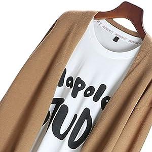 Zerlar Knit Cardigan Boyfriend Sweater Open Front Long Sleeve For Women Ladies (Khaki)