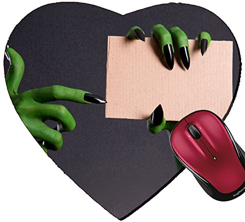 Liili Mousepad Heart Shaped Mouse Pads/Mat IMAGE ID 32625114 Green monster hand with black nails pointing on piece of cardboard Halloween theme
