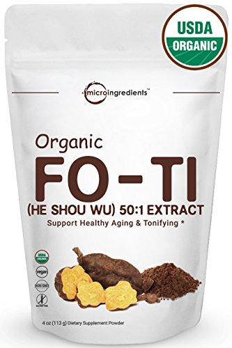 (Maximum Strength Organic Fo-Ti (He Shou Wu) 50:1 Extract Powder, Traditional Anti-Aging Herb, Powerfully Promotes Hair Health & Antioxidant, 4 Ounce, Non-GMO and Vegan Friendly)