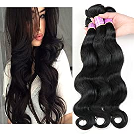 Beauty Youth Brazilian Virgin Hair 4 Bundles Body Wave Wigs Extensions 7A Unprocessed Remy Hair Weave Natural Color 95-100g/pc (14 16 18 20, Natural Color) …