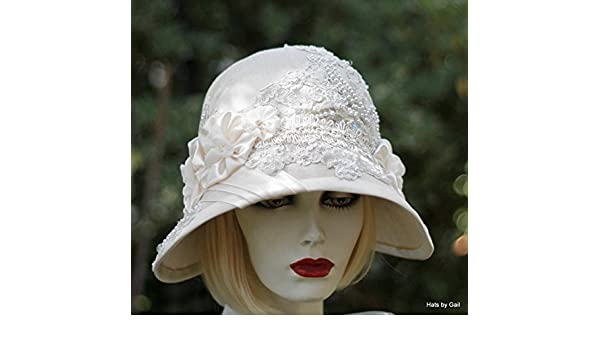 aa11928f940f2 Amazon.com  Womens Vintage 20s Style Fancy Formal Wide Brim Cloche Hat for  Summer  Handmade