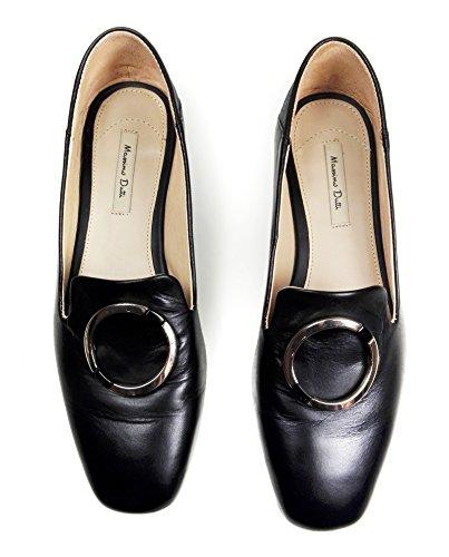 Mocasines De Cuero Massimo Dutti Mujer Black Con Detalle De Anillo 1401/021