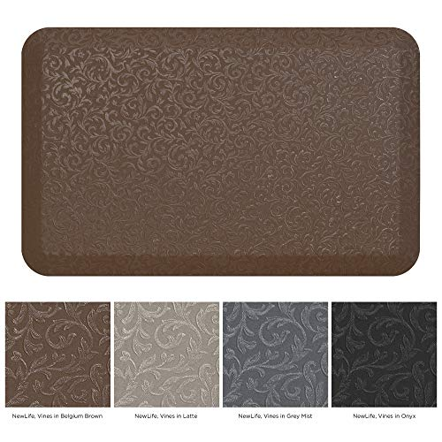 "NewLife by GelPro Professional Grade Anti-Fatigue Kitchen & Office Comfort Mat, 20x32, Vine Brown ¾"" Bio-Foam Mat with non-slip bottom for health & wellness"