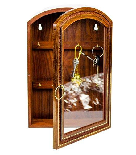 Decorative Panel International (Deluxe Rosewood Crafted Wooden Key Cabinet With 6 Key Hooks And Glass Panel | Decorative & Functional Key Storage Box | Nagina International)