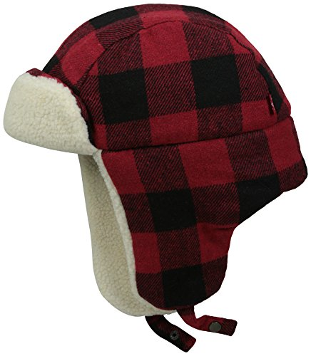 Buffalo Plaid Wool (Levi's Men's Buffalo Plaid Trapper Hat With Sherpa Lining, Red/Black, Large/X-Large)
