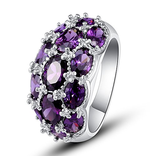 Psiroy 925 Sterling Silver Created Amethyst Filled Knuckle Joint Ring Band Size 9