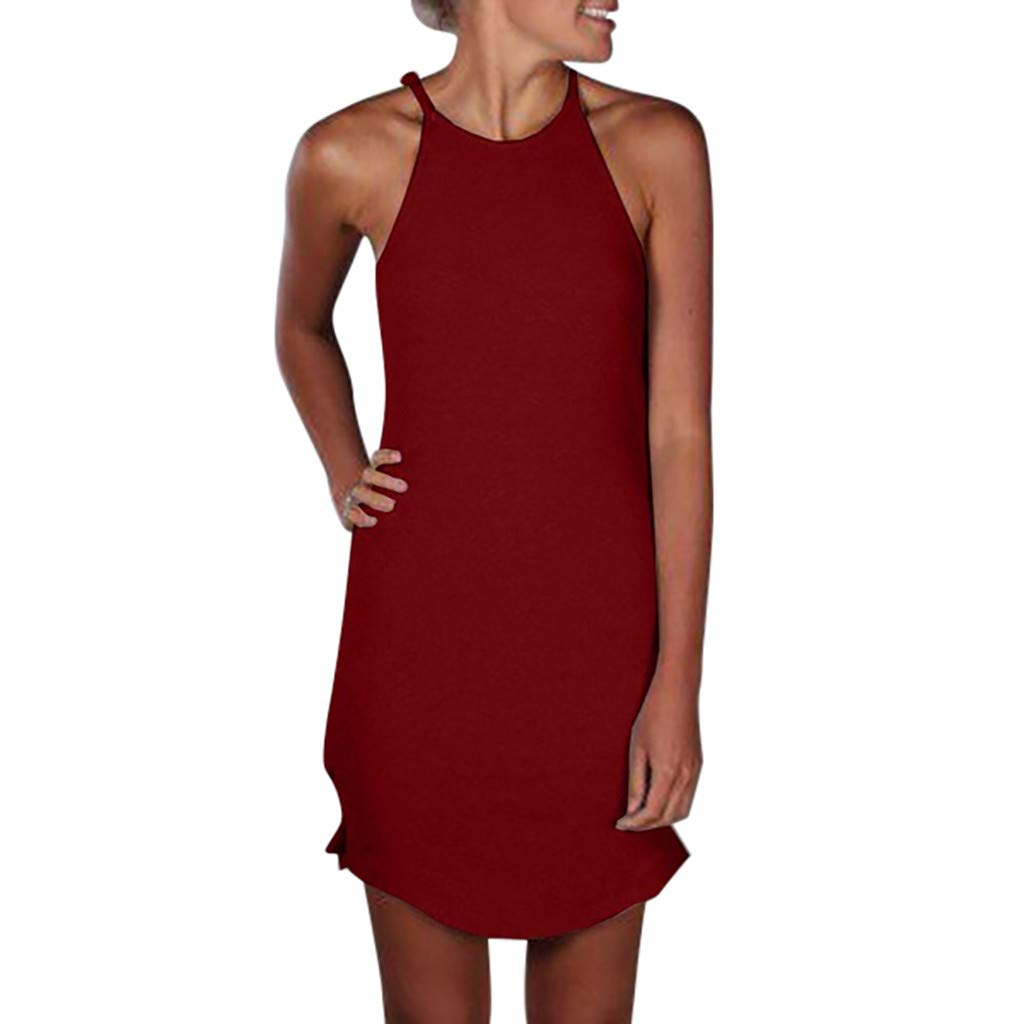 BB67 Women Dress, Halter Neck Sleeveless Solid Print Mini Summer Party Wine