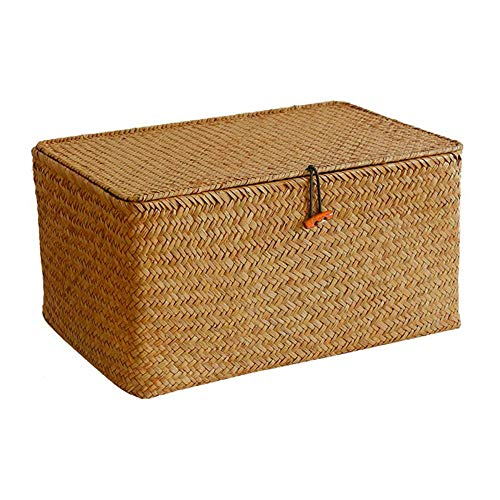 Merssavo Kitchen Basket Straw Organizer,Seagrass Rattan Storage Box Woven Straw Kids Desktop Toy Finishing Box Household Goods,4#