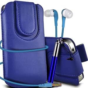 Sony Xperia E1 premium protección PU botón magnético ficha de extracción Slip In Pouch Pocket Cordón piel cubierta de la caja Quick Release, Retractable Stylus Pen & Coincidencia de los 3.5MM Auriculares de auriculares auriculares de color azul oscuro por Spyrox