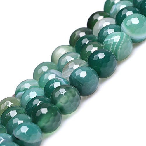 Joe Foreman Stripe Green Agate Beads for Jewelry Making Natural Gemstone Semi Precious 10mm Round Faceted 15