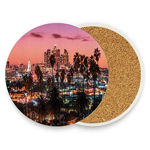 keyishangmaoLu United States Vibrant Sunset Twilight Scenery Los Angeles Famous Downtown with Palm Trees Coaster Ceramic Cork Trivet Heat Resistant Hot Pads Table Cup Mat Coaster 1 Piece -