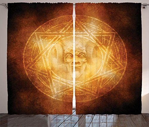 Horror House Decor Curtains by Ambesonne, Demon Trap Symbol Logo Ceremony Creepy Ritual Fantasy Paranormal Design , Living Room Bedroom Window Drapes 2 Panel Set, 108 W X 108 L Inches, Orange by Ambesonne