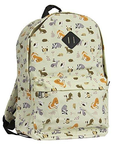 Big Handbag Shop Unisex Zip Pockets Colourful Lightweight Large Travel School Backpack Bag Animal Print - Beige