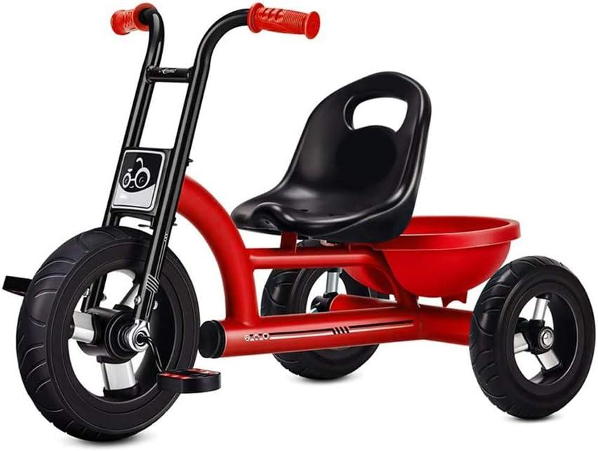 HYDDG Bebé Paseante Juguete Triciclo con Engrandecido Almacenamiento Cesta, para niños Bicicleta Jardín de Infancia Juguete Adecuado para 1-3-6 años Antiguo Chico y Niña Bicicleta,Rojo