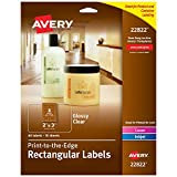 Avery Rectangle Labels for Laser & Inkjet Printers, 2' x 3', 80 Glossy Crystal Clear Labels (22822)
