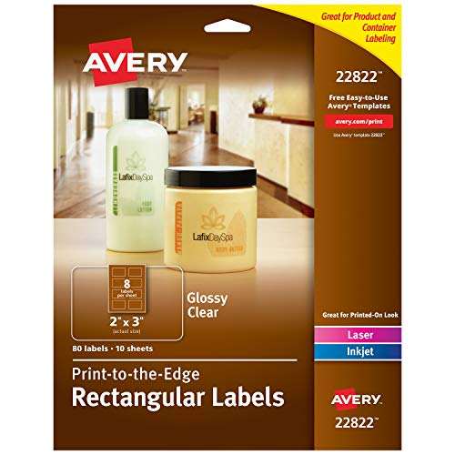 "Avery Rectangle Labels for Laser & Inkjet Printers, 2"" x 3"", 80 Glossy Crystal Clear Labels (22822)"