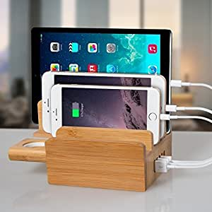 [2016 Newest Version] 5-Port USB Charging Station, Outtek 40W Bamboo Charging Station for all iPhones, iPads, Nexus, Galaxy, and Other Smartphones and Tablets & Apple Watch