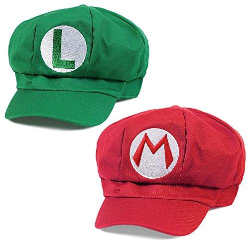 KLIMBIM® Super Mario Kostüm Mütze Cap Hut Set Mario und Luigi